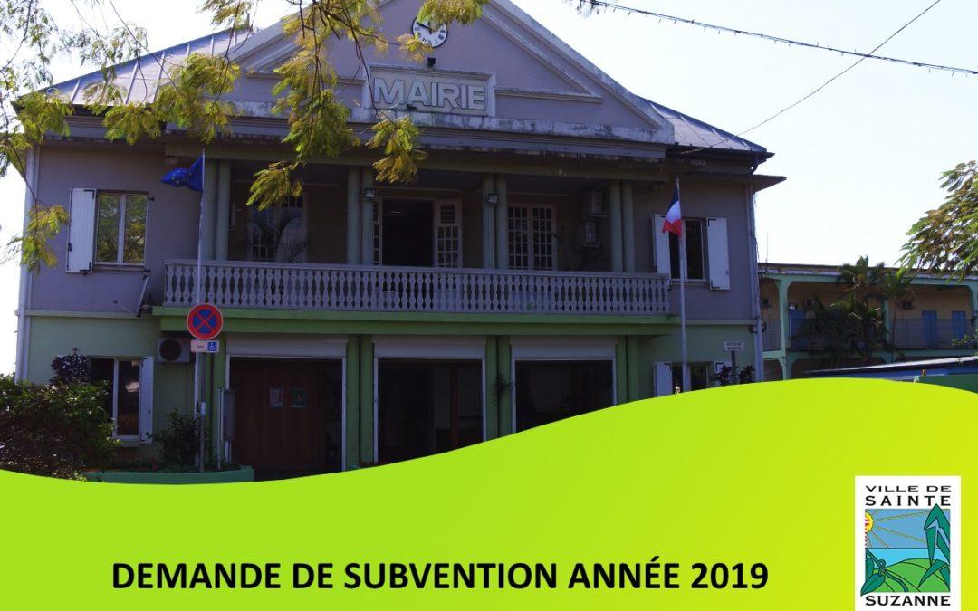 Demande de subvention 2019