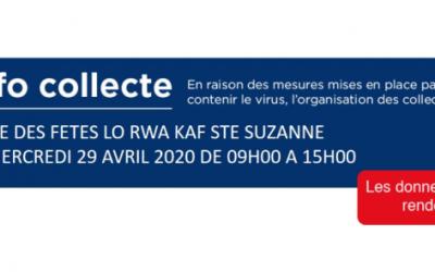 COVID19- INFO COLLECTE DE SANG SALLE DES FETES LO RWA KAF